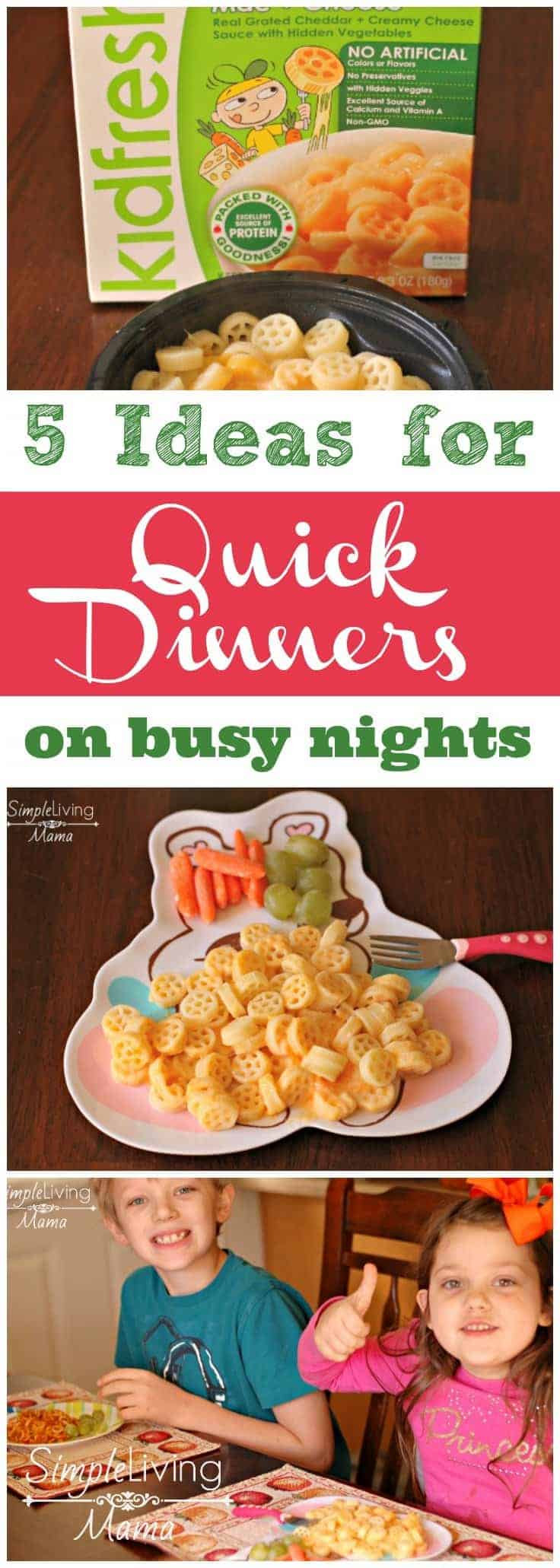 5 Ideas for Quick Dinners on Busy Nights - You know those inevitable nights that are rushed because the kids have somewhere to be? These ideas will give you healthy options to keep their tummies full!
