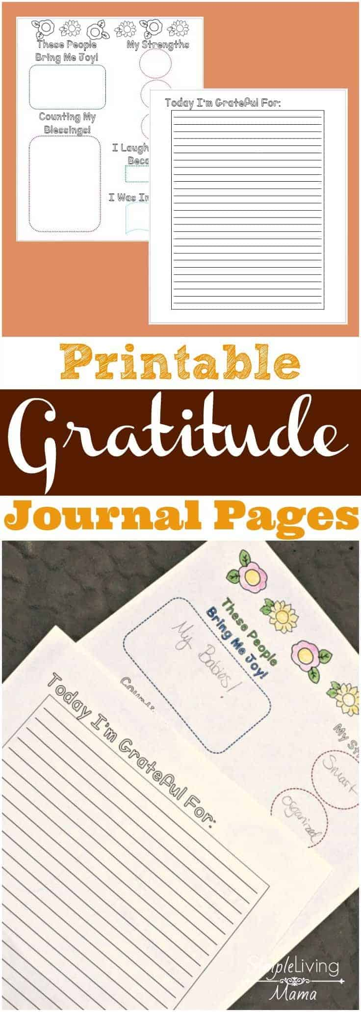 Printable gratitude journal pages for moms that can be colored!