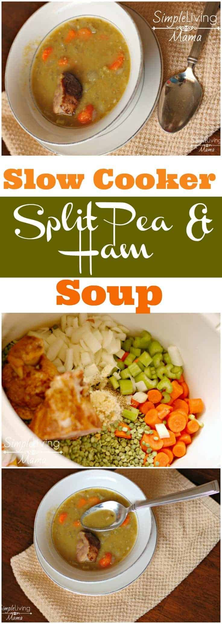 This delicious slow cooker split pea soup with ham is the BEST slow cooker split pea soup recipe you will find. This split pea soup is simple, hearty, and filling!