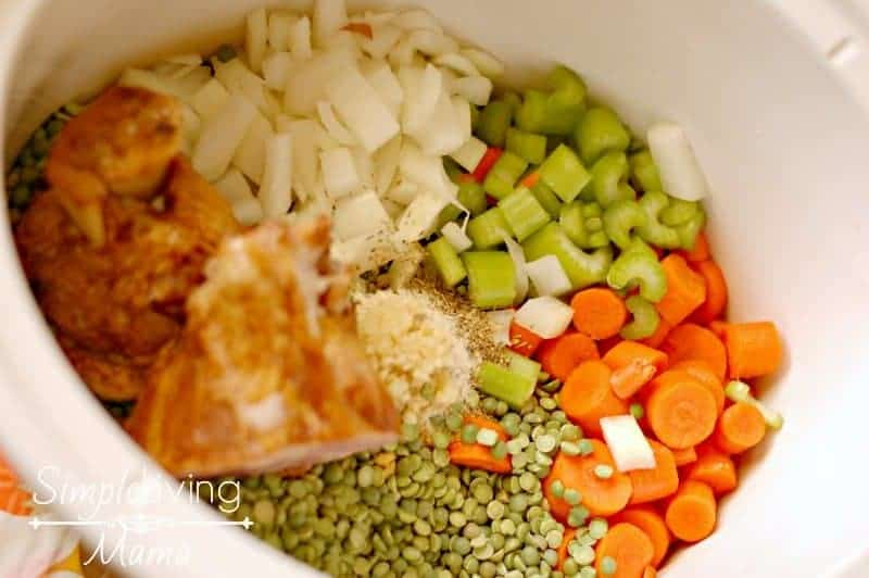 Ingredients for slow cooker split pea soup with ham.