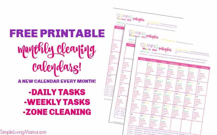 Free printable monthly cleaning calendars