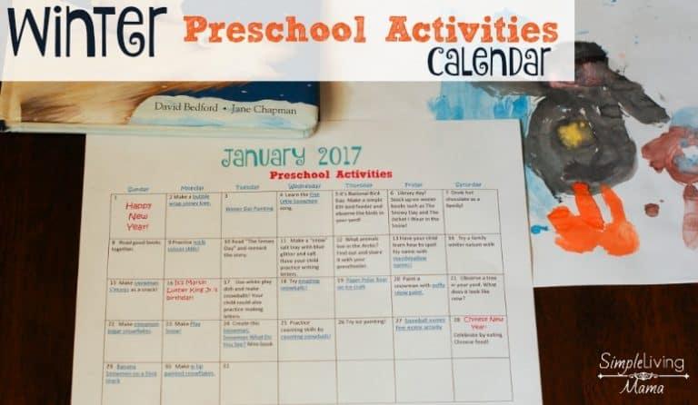 Winter Preschool Activities Calendar
