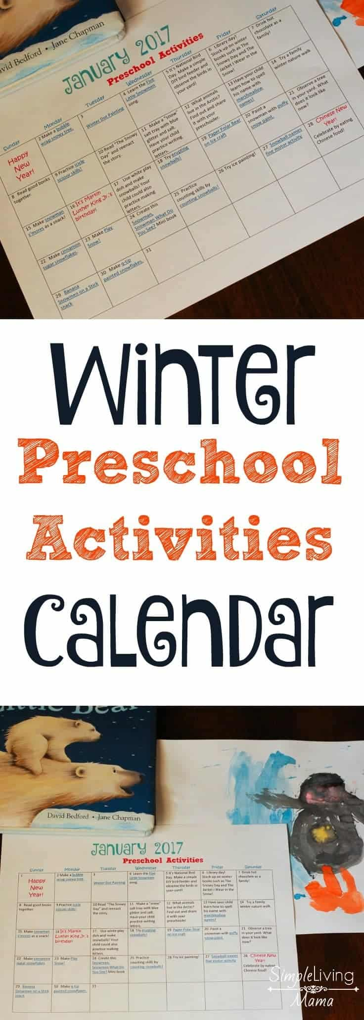 Winter preschool activities calendar | free calendar with winter preschool activities