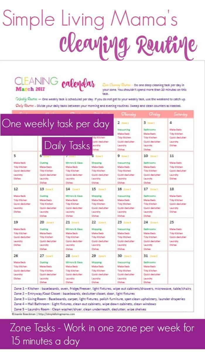Learn how to establish a cleaning routine with Simple Living Mama's easy cleaning routine for moms! Free printable cleaning calendars can help you keep your house clean in just a few minutes a day!