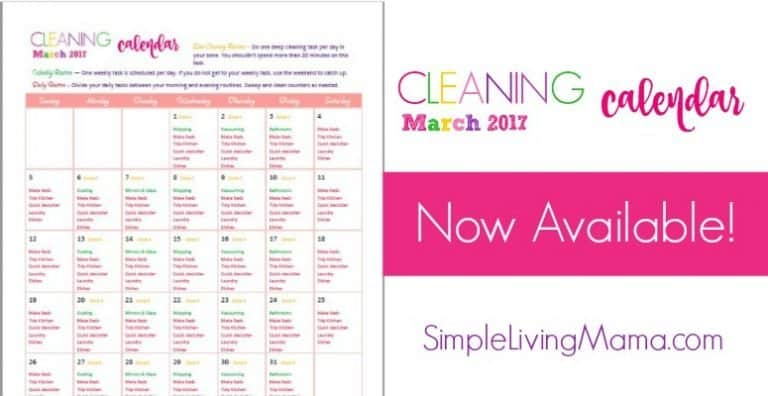 March 2017 Cleaning Calendar