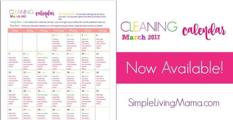 March cleaning calendar