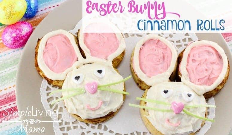 Easter bunny cinnamon rolls on a plate