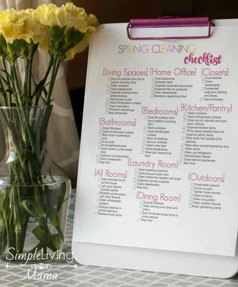 Spring cleaning checklist and flowers
