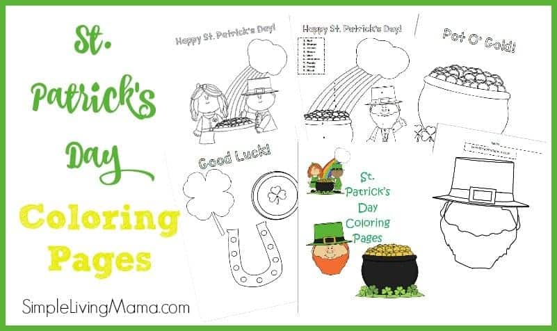 st. patrick's day coloring pages feature image
