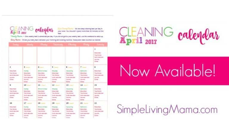 April Cleaning Calendar