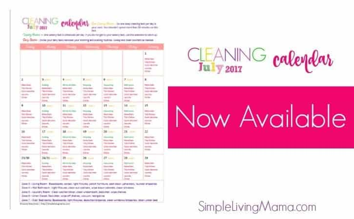 July Cleaning Calendar
