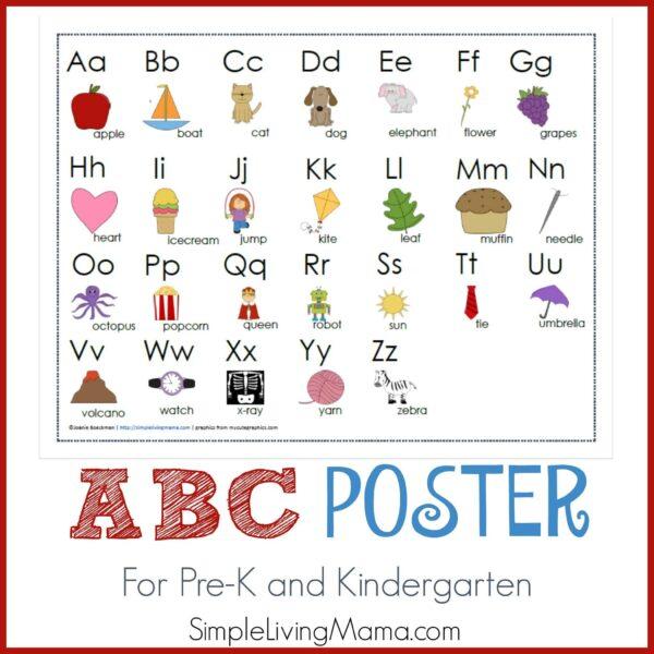 ABC poster for preschool and kindergarten