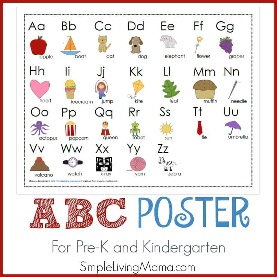 ABC poster for preschool and kindergarten