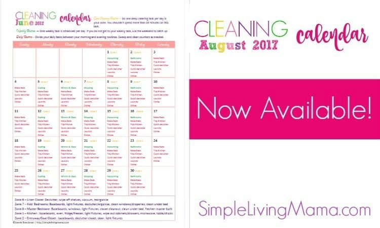 August 2017 Cleaning Calendar