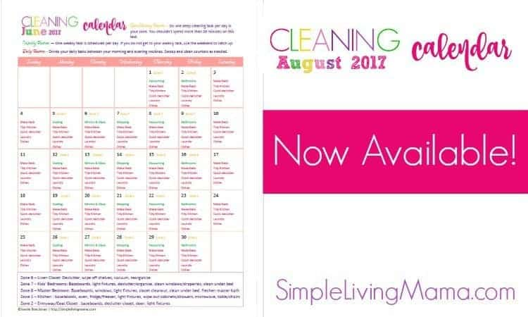 August cleaning calendar