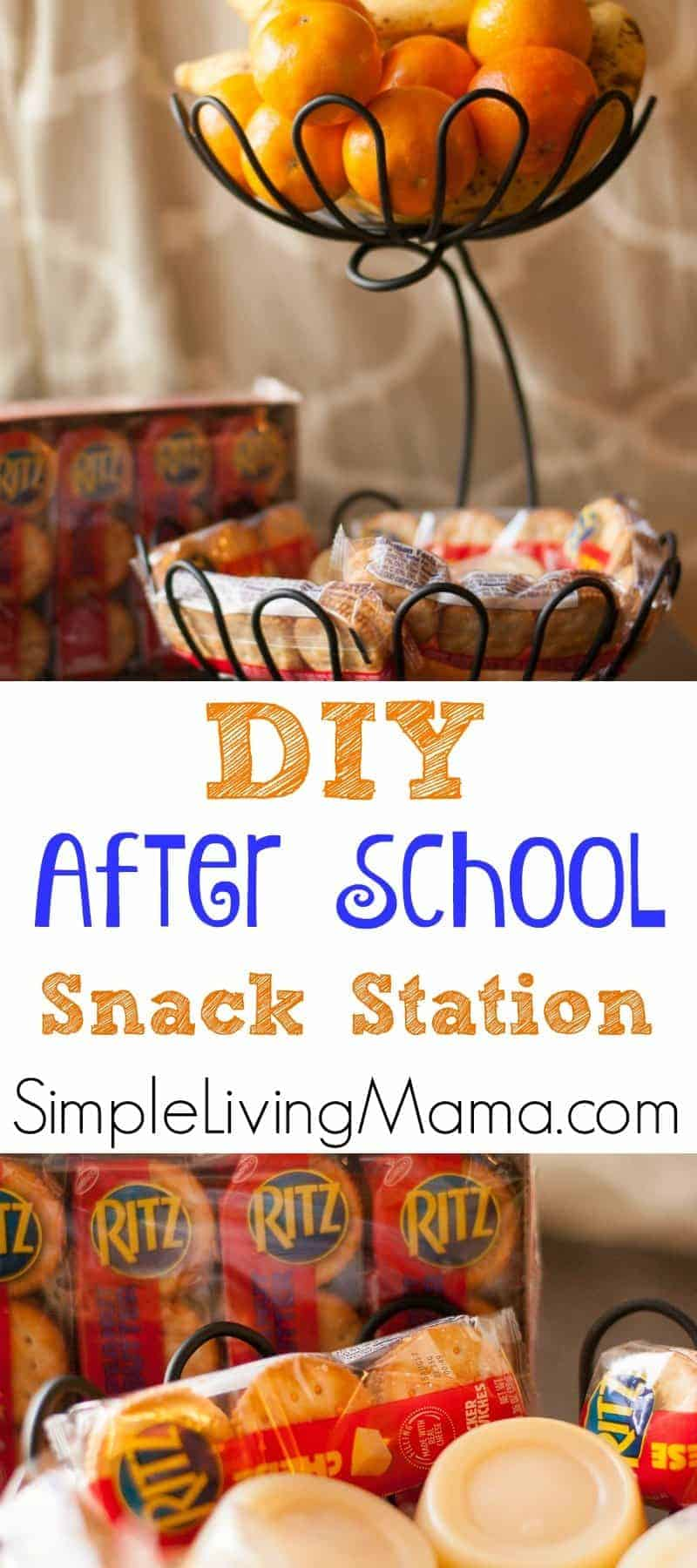 This DIY Snack Station is easy to assemble and perfect for kids after school!