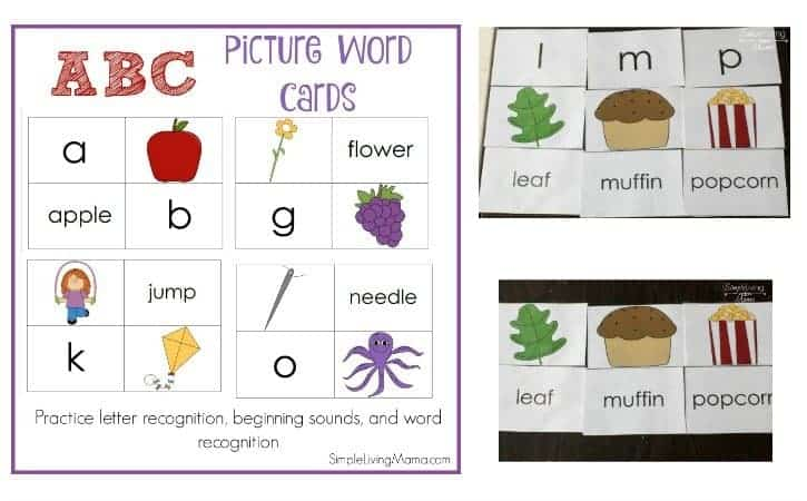 ABC picture word flashcards help preschoolers with letter and sound recognition. These alphabet flashcards are great for preschool and kindergarten!