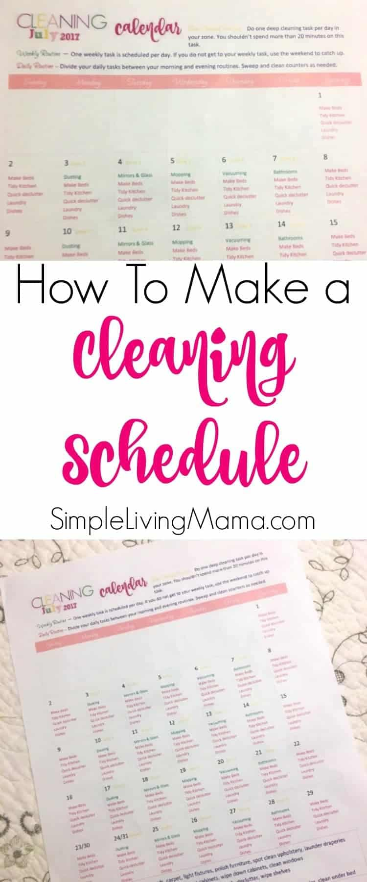 How to make a cleaning schedule even when you have little kids.