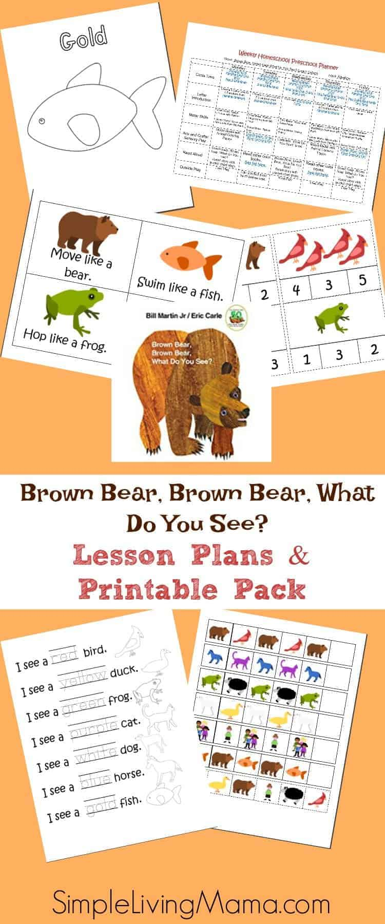 This Brown Bear, Brown Bear What Do You See pack includes a week of lesson plans and printables for preschoolers and kindergartners.