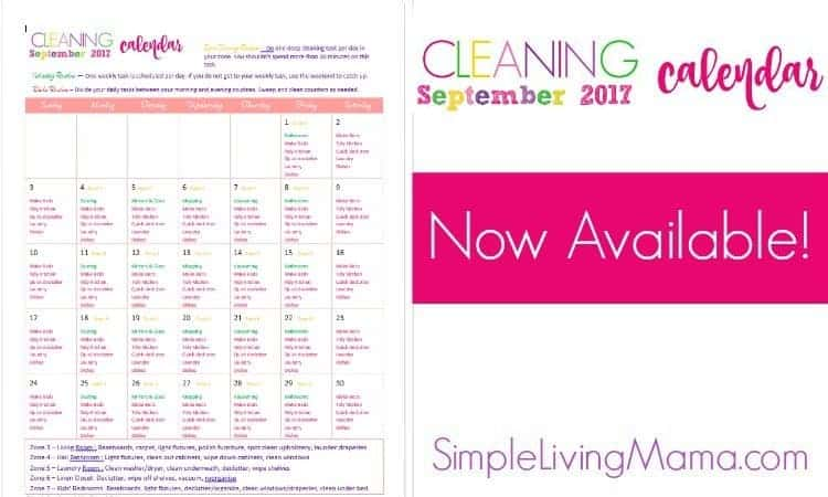 September 2017 Cleaning Calendar