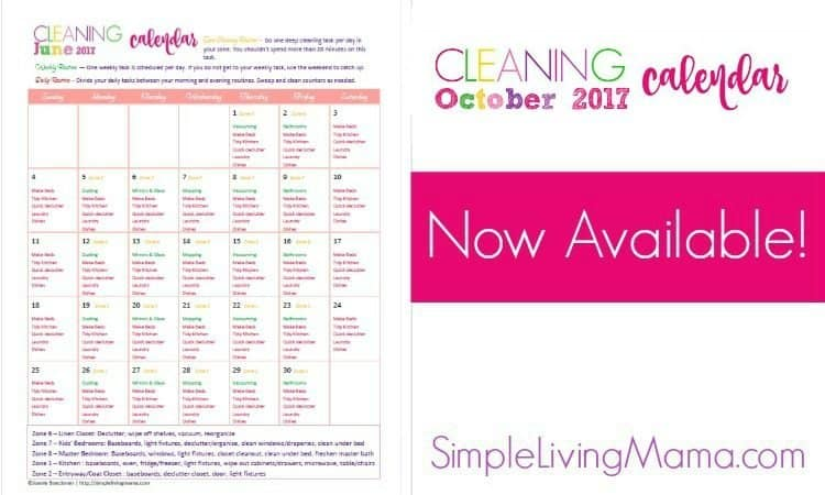 October Cleaning Calendar