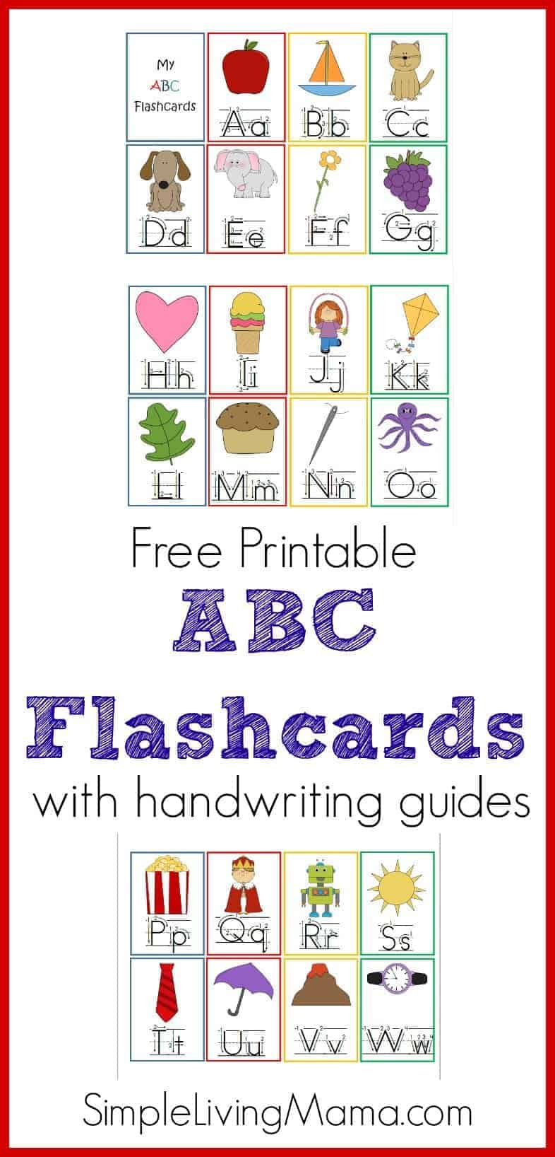 graphic regarding Printable Abc identify Printable ABC Flashcards for Preschoolers - Uncomplicated Residing Mama