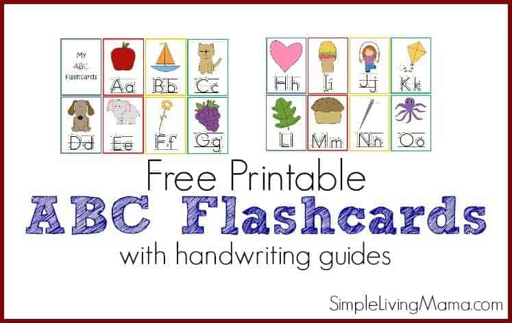 picture relating to Abc Flash Cards Free Printable identified as Printable ABC Flashcards for Preschoolers - Straightforward Residing Mama