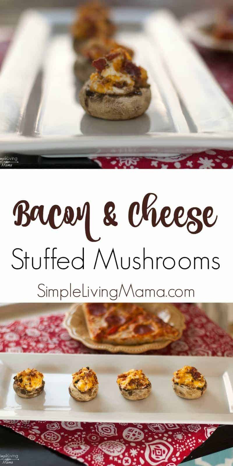 These bacon and cheese stuffed mushrooms are made with cream cheese, other cheeses and bacon for the perfect appetizer!