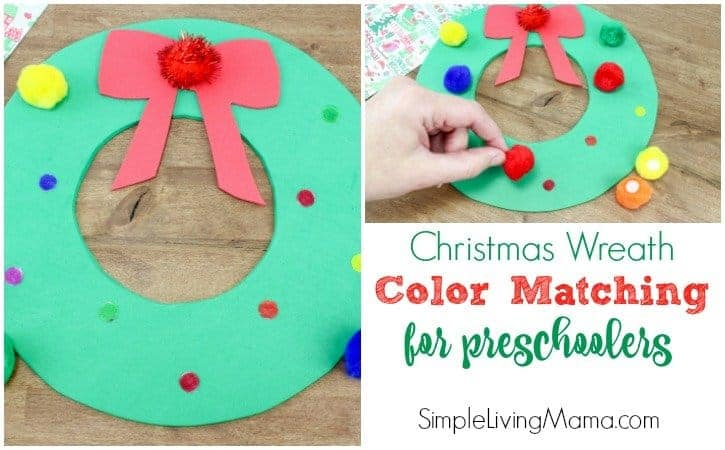 Christmas Wreath Color Match Game for Preschoolers – Christmas Activity