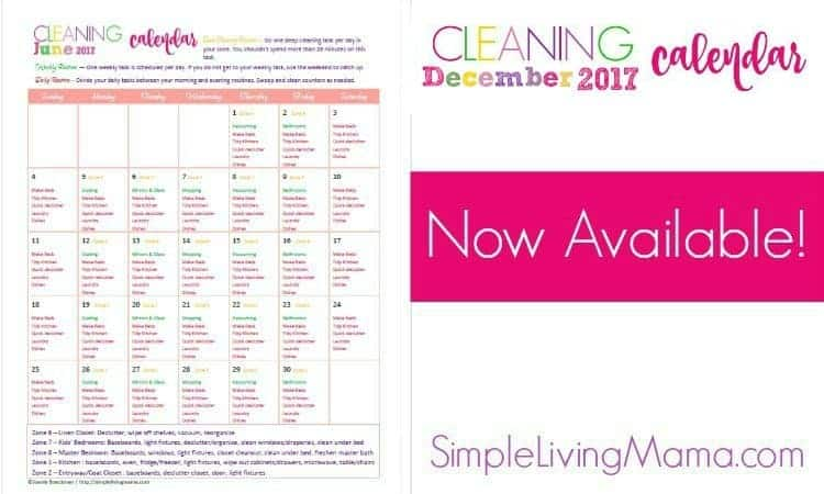 Grab your 2017 December cleaning calendar to get your housekeeping routine in order!