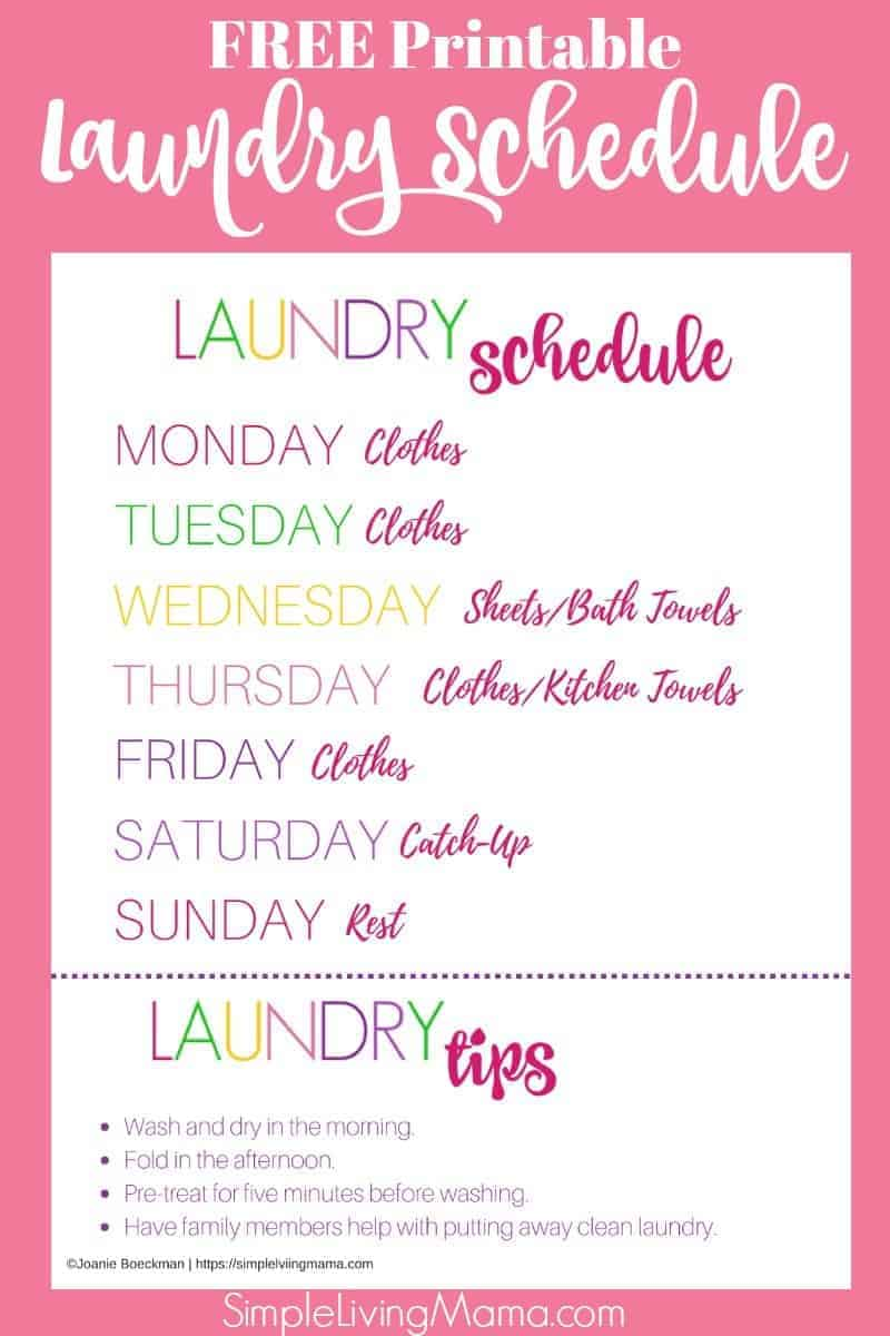 free printable laundry schedule for large families. Get your laundry routine in order!