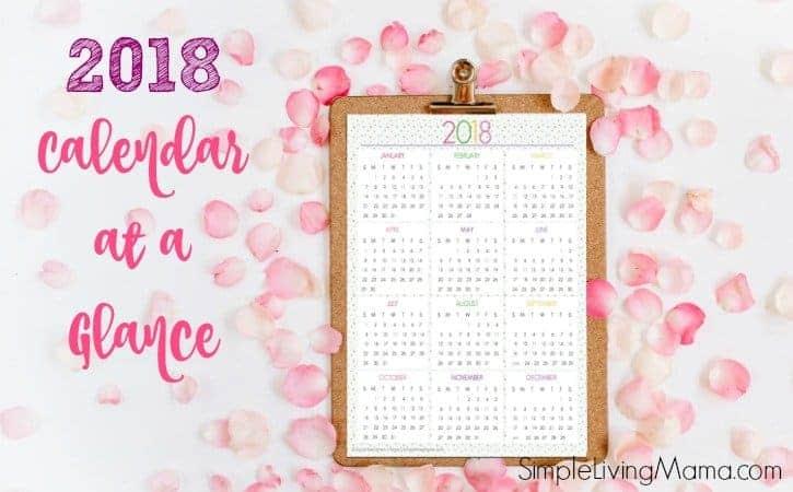 2018 calendar at a glance on a clipboard