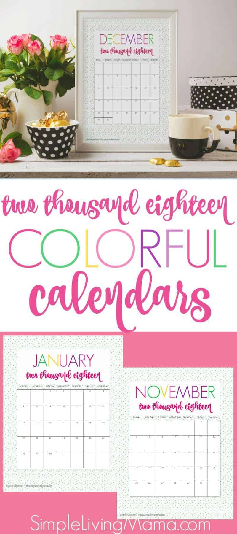 These 2018 free printable monthly calendars are full of color. Stay on track with these printable calendars, or add them to your planner as a pretty printable!