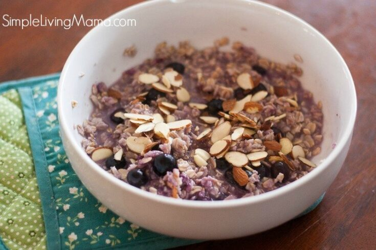 blueberry oatmeal topped with almonds