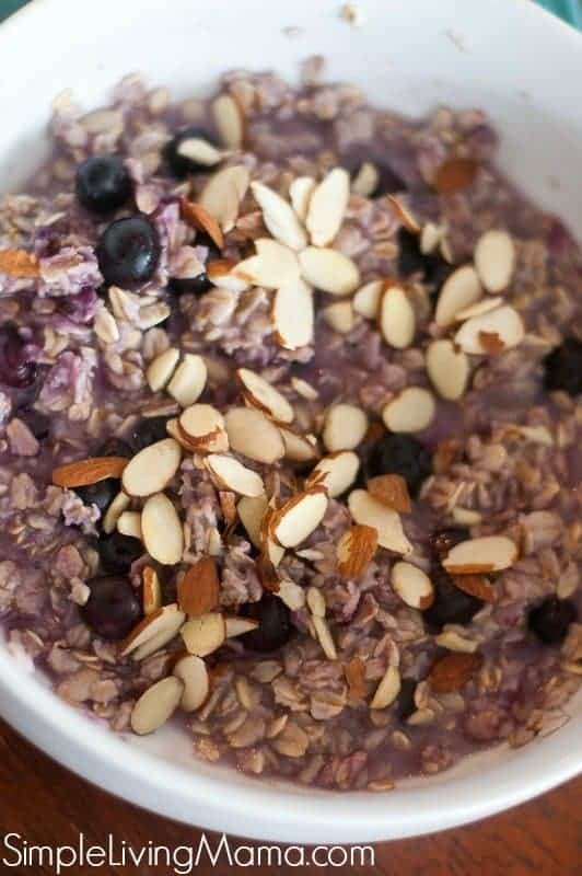 Delicious blueberry oatmeal topped with almonds