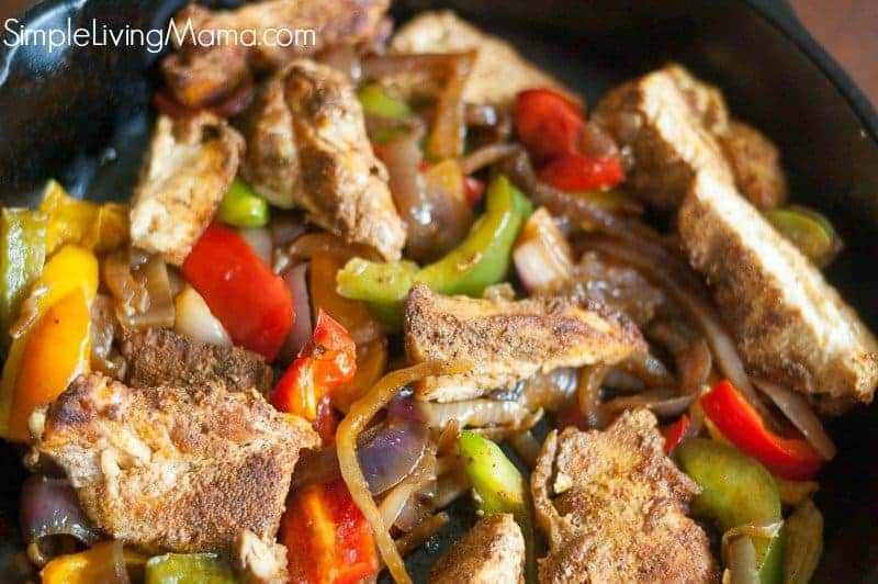 Chicken and peppers for fajitas