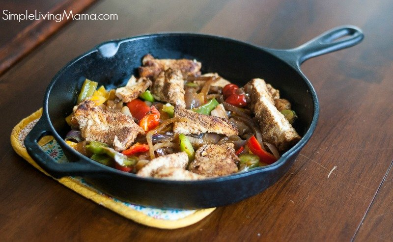 A cast iron skillet is perfect for cooking these delicious cast iron skillet chicken fajitas made with an easy homemade fajita seasoning.