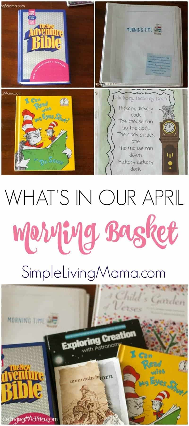 Want to see what our large family is using for our homeschool morning time? Here's a glimpse at our homeschool morning basket for the month of April.