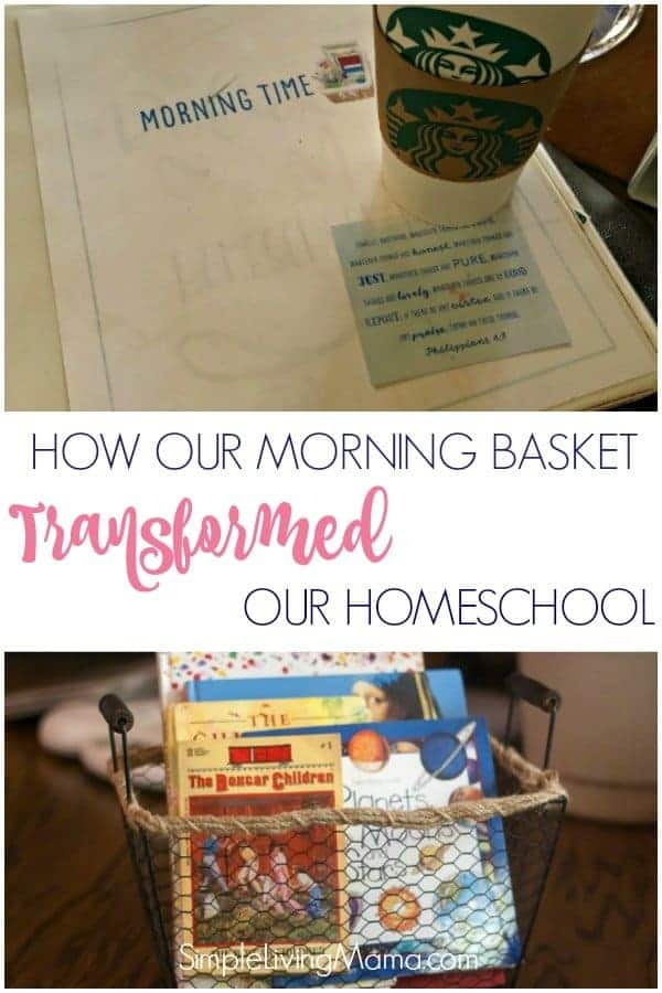 Learn what a morning basket is, see our morning basket schedule, look at all of our morning basket activities, and see how this lovely morning time totally transformed our homeschool!