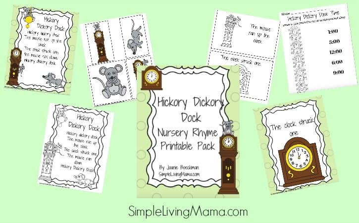 Hickory Dickory Dock Nursery Rhyme Pack for Preschool