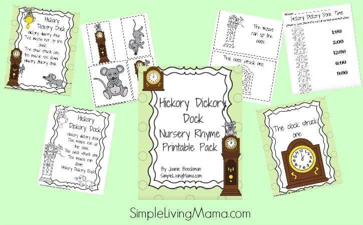 Hickory Dickory Dock Nursery Rhyme Pack for Preschool