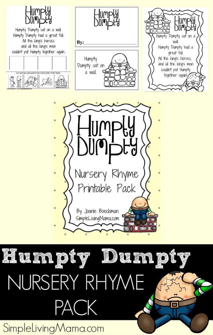 This Humpty Dumpty Nursery Rhyme Pack is full of printables that are perfect for preschoolers or kindergartners to help them learn the classic Humpty Dumpty nursery rhyme!