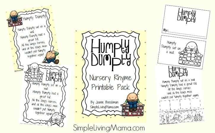 Humpty Dumpty Nursery Rhyme Printable Pack for Preschool