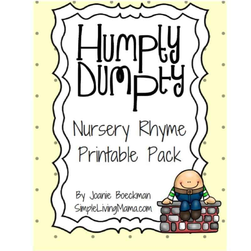 image about Humpty Dumpty Printable called Humpty Dumpty Nursery Rhyme Printable Pack