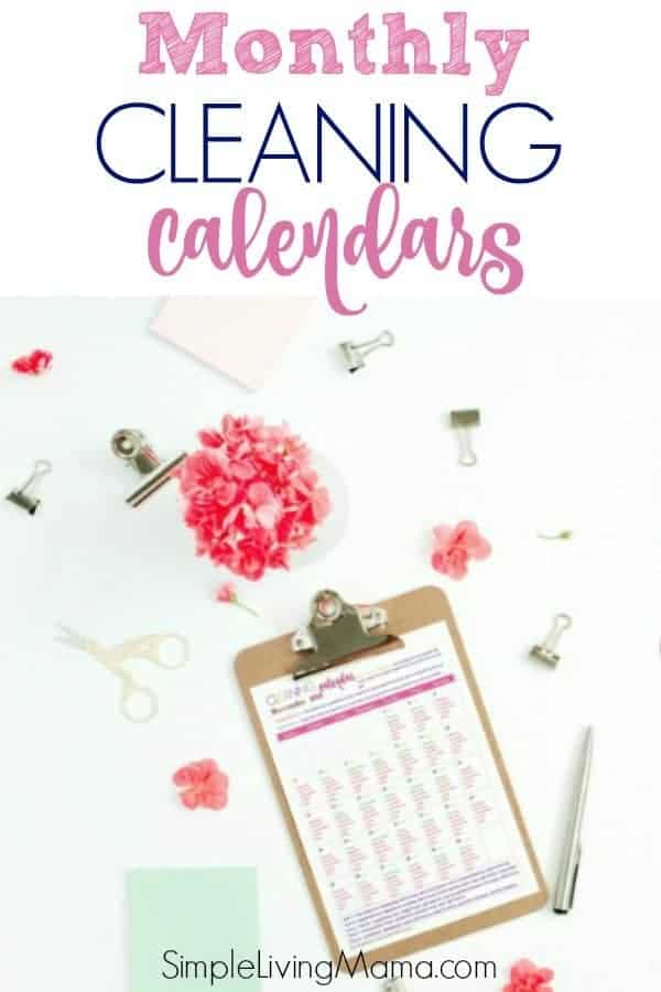 This monthly cleaning calendar will help you create a weekly cleaning schedule. Get a new cleaning calendar each month!