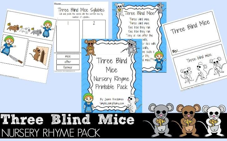 Three Blind Mice Nursery Rhyme Printable Pack for Kids