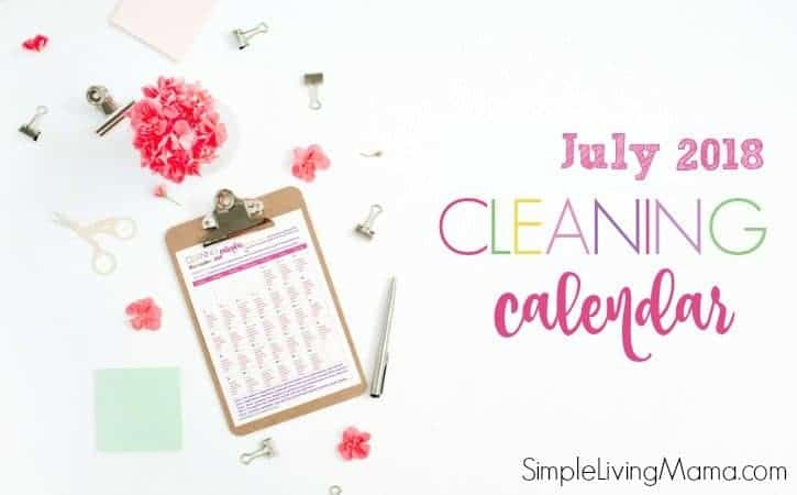 july 2018 printable cleaning calendar
