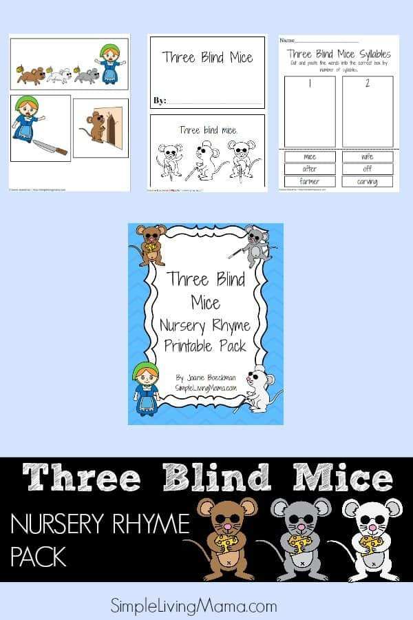 photo regarding Printable Nursery Rhymes referred to as 3 Blind Mice Nursery Rhyme Printable Pack for Youngsters