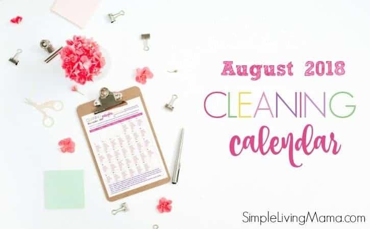 August 2018 Cleaning Calendar
