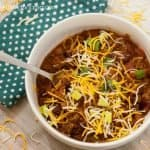 Delicious homemade chili in a white bowl